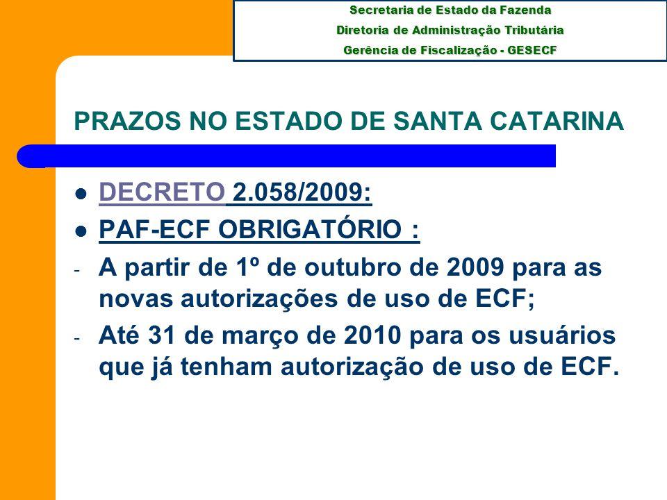 PRAZOS NO ESTADO DE SANTA CATARINA