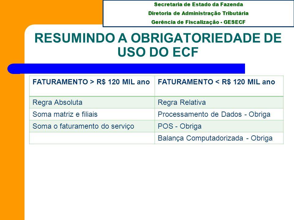 RESUMINDO A OBRIGATORIEDADE DE USO DO ECF