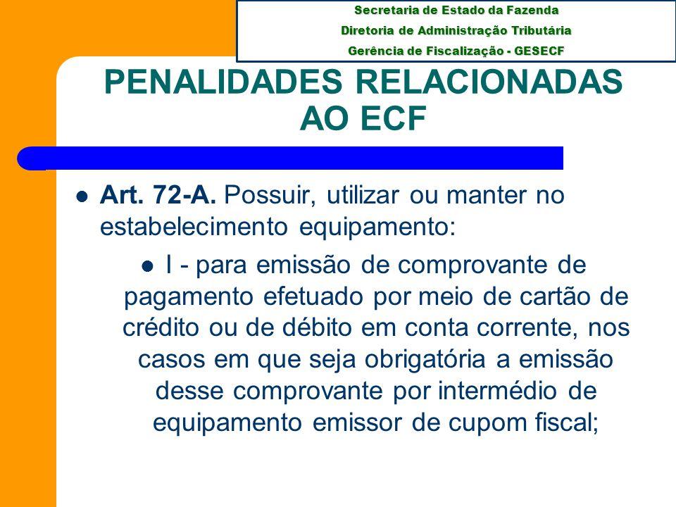 PENALIDADES RELACIONADAS AO ECF