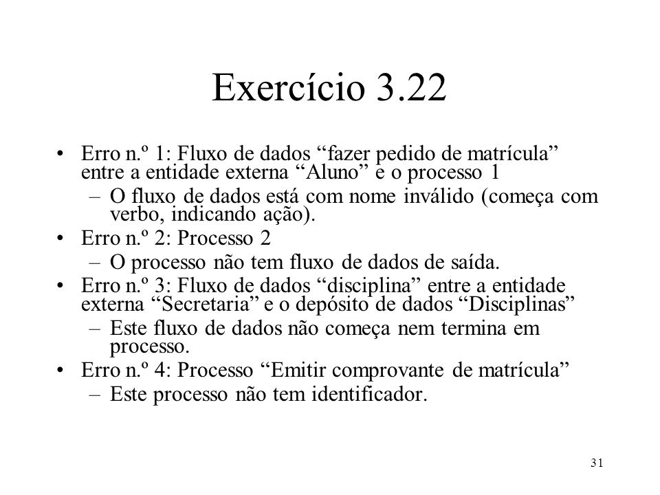 Exercício 3.22 Erro n.º 1: Fluxo de dados fazer pedido de matrícula entre a entidade externa Aluno e o processo 1.