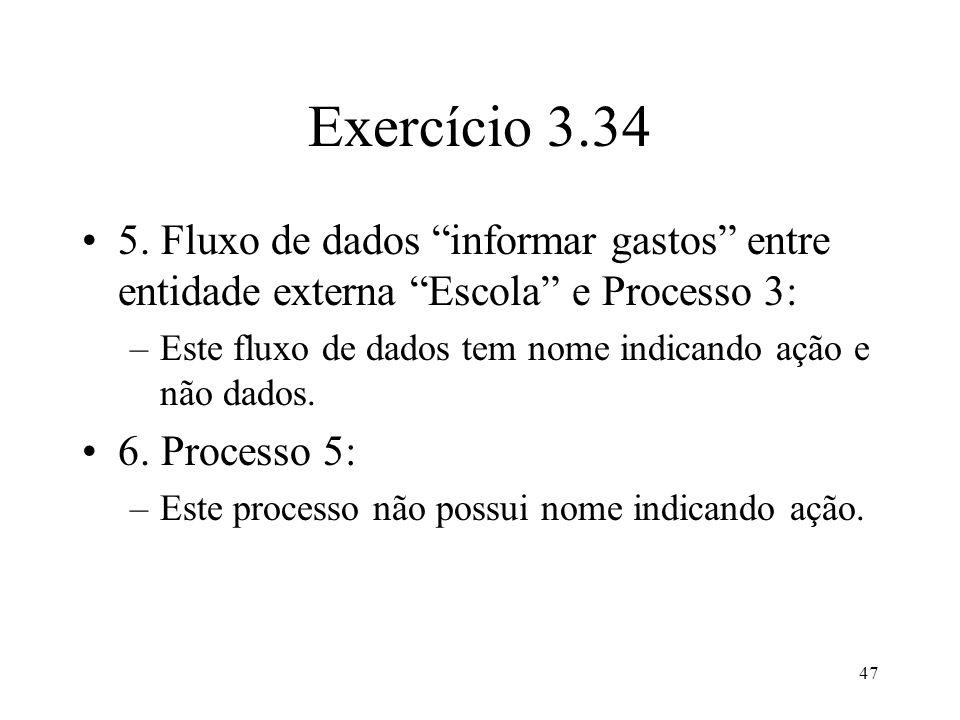 Exercício 3.34 5. Fluxo de dados informar gastos entre entidade externa Escola e Processo 3: