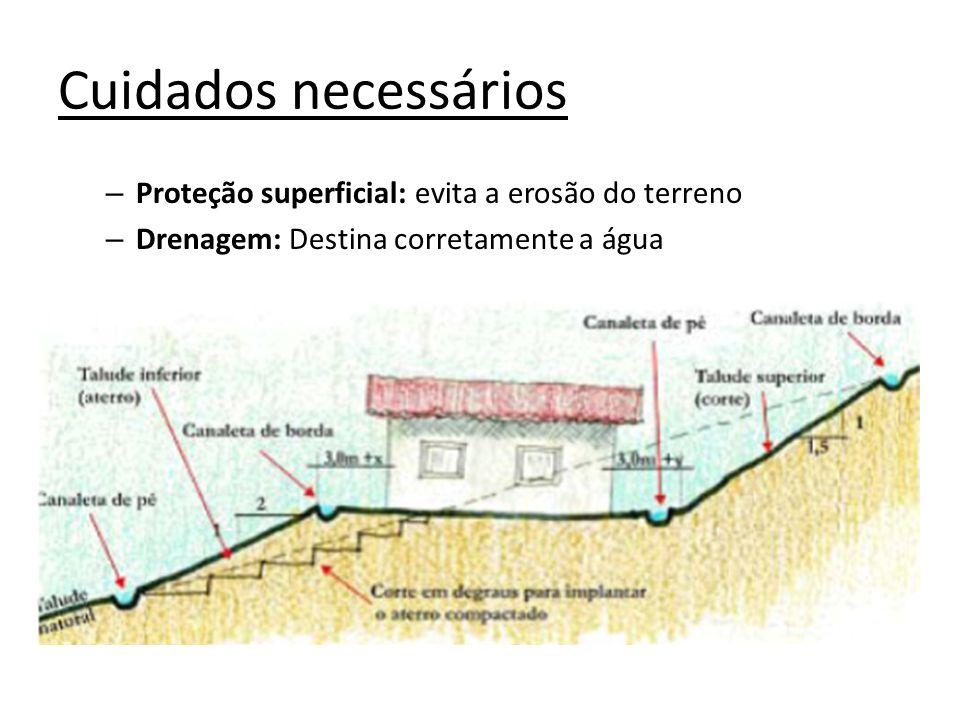Cuidados necessários Proteção superficial: evita a erosão do terreno