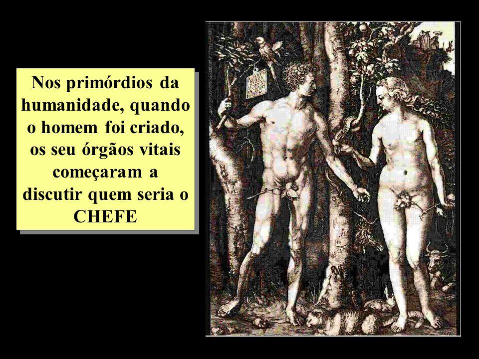 Nos primórdios da humanidade, quando o homem foi criado, os seu órgãos vitais começaram a discutir quem seria o CHEFE
