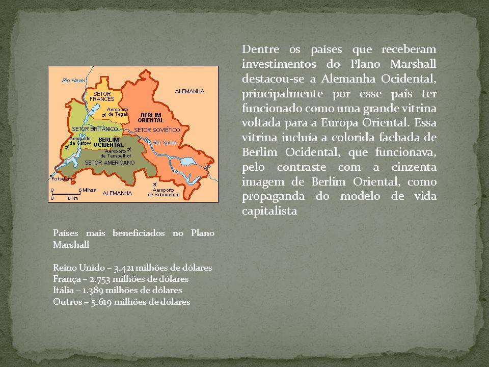 Dentre os países que receberam investimentos do Plano Marshall destacou-se a Alemanha Ocidental, principalmente por esse país ter funcionado como uma grande vitrina voltada para a Europa Oriental. Essa vitrina incluía a colorida fachada de Berlim Ocidental, que funcionava, pelo contraste com a cinzenta imagem de Berlim Oriental, como propaganda do modelo de vida capitalista
