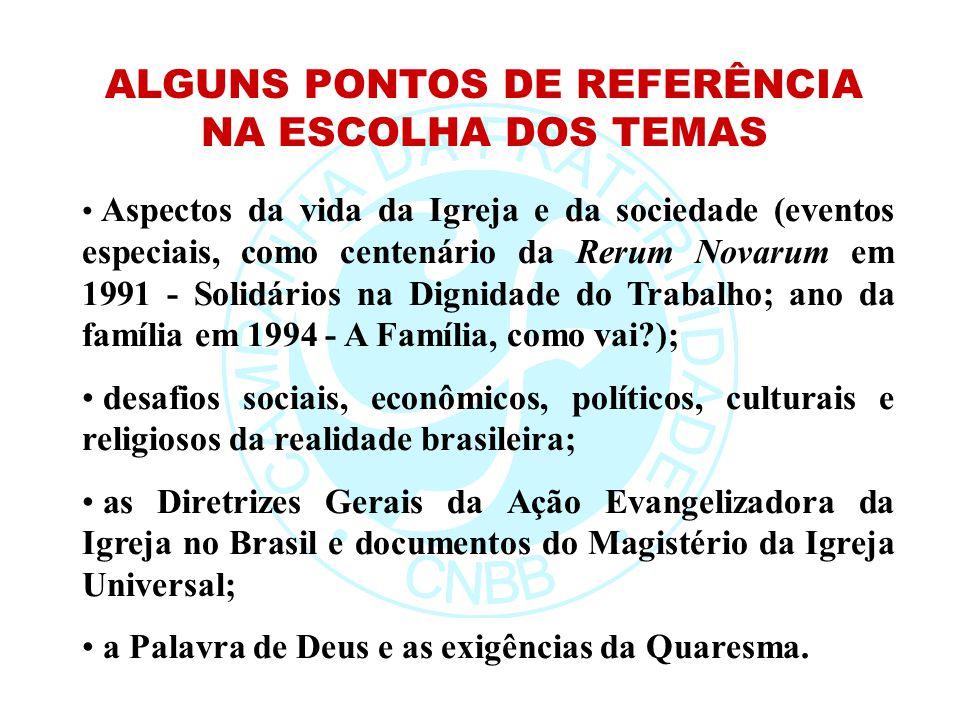 ALGUNS PONTOS DE REFERÊNCIA NA ESCOLHA DOS TEMAS