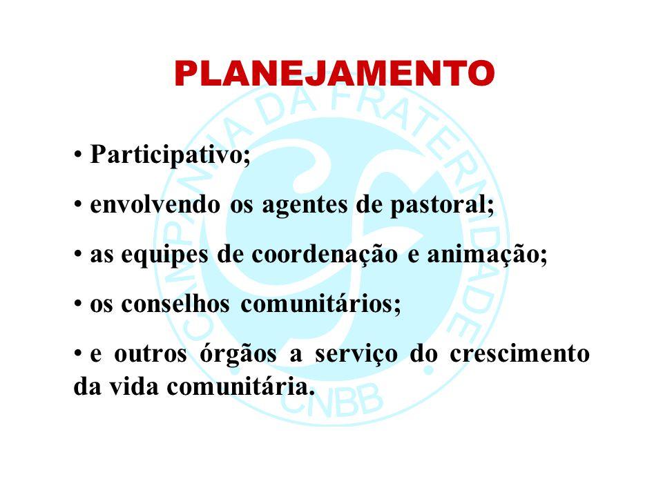 PLANEJAMENTO Participativo; envolvendo os agentes de pastoral;