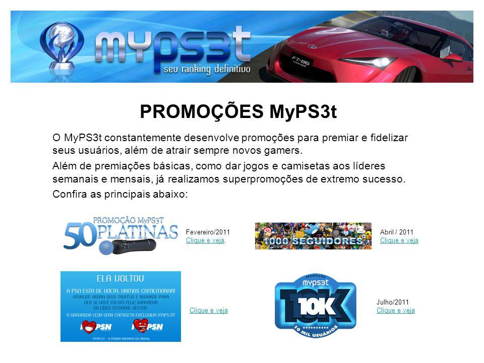 PROMOÇÕES MyPS3t O MyPS3t constantemente desenvolve promoções para premiar e fidelizar seus usuários, além de atrair sempre novos gamers.