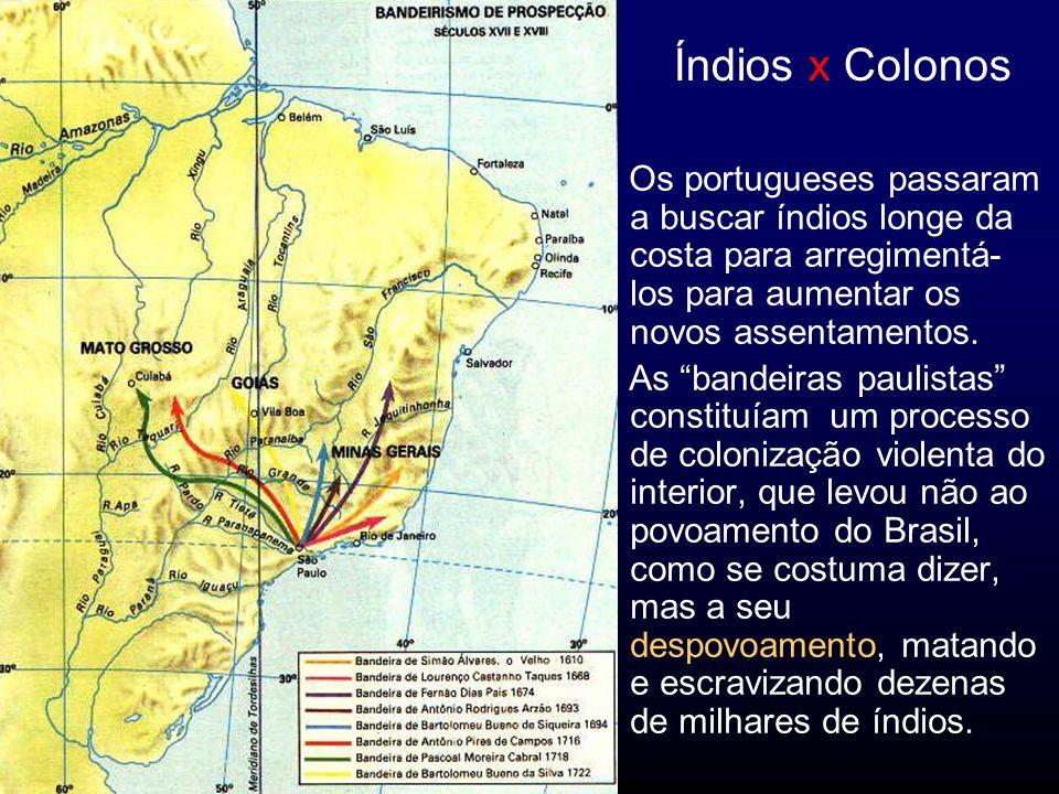 Índios x Colonos Os portugueses passaram a buscar índios longe da costa para arregimentá-los para aumentar os novos assentamentos.