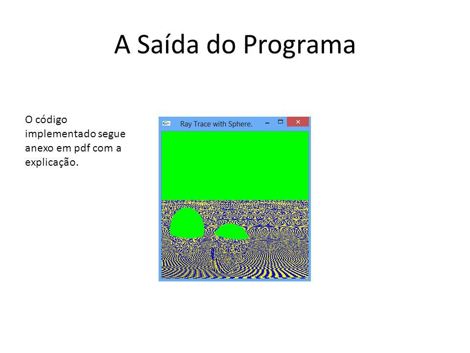 A Saída do Programa O código implementado segue anexo em pdf com a explicação.