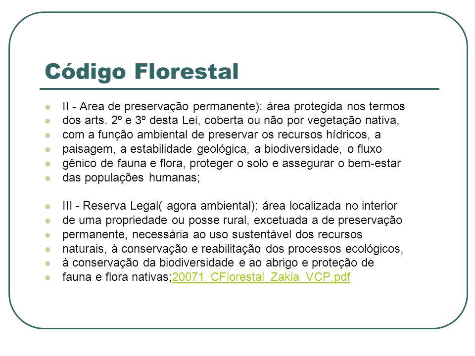 Código Florestal II - Area de preservação permanente): área protegida nos termos. dos arts. 2º e 3º desta Lei, coberta ou não por vegetação nativa,