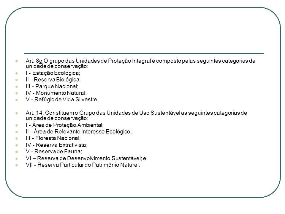 Art. 8o O grupo das Unidades de Proteção Integral é composto pelas seguintes categorias de unidade de conservação: