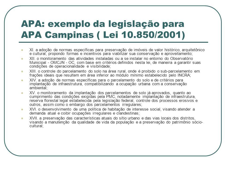 APA: exemplo da legislação para APA Campinas ( Lei 10.850/2001)