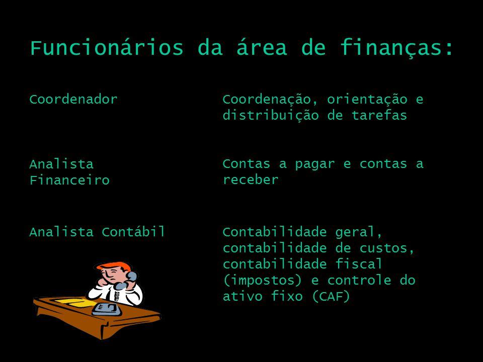 Funcionários da área de finanças: