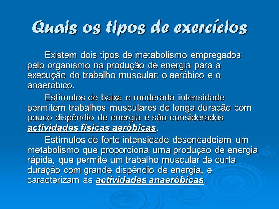 Quais os tipos de exercícios