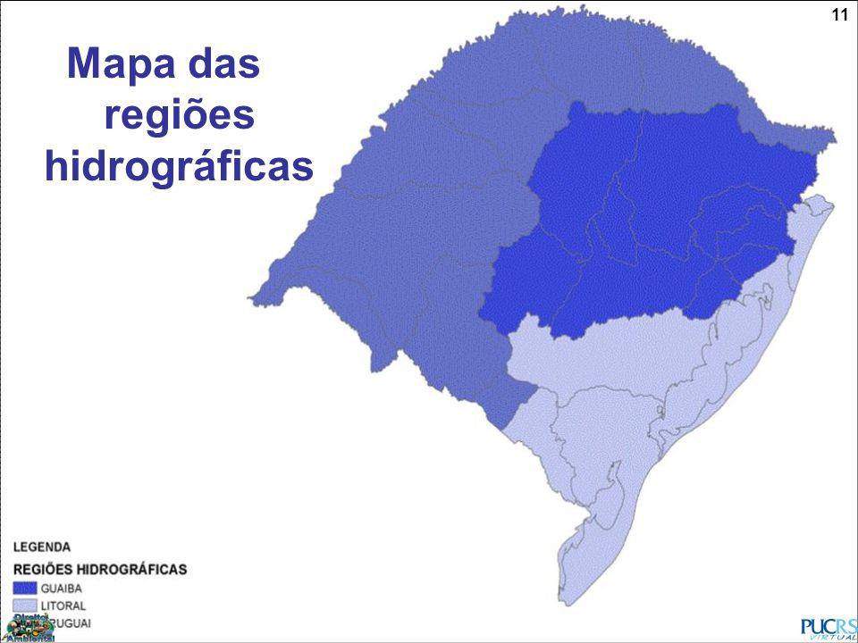 Mapa das regiões hidrográficas
