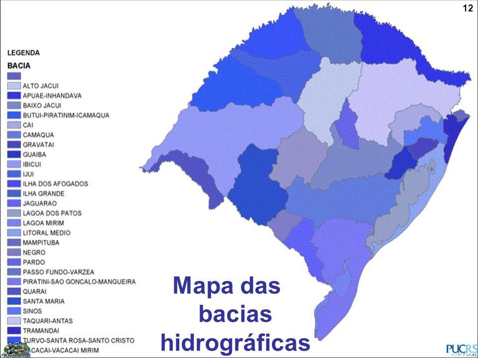 Mapa das bacias hidrográficas