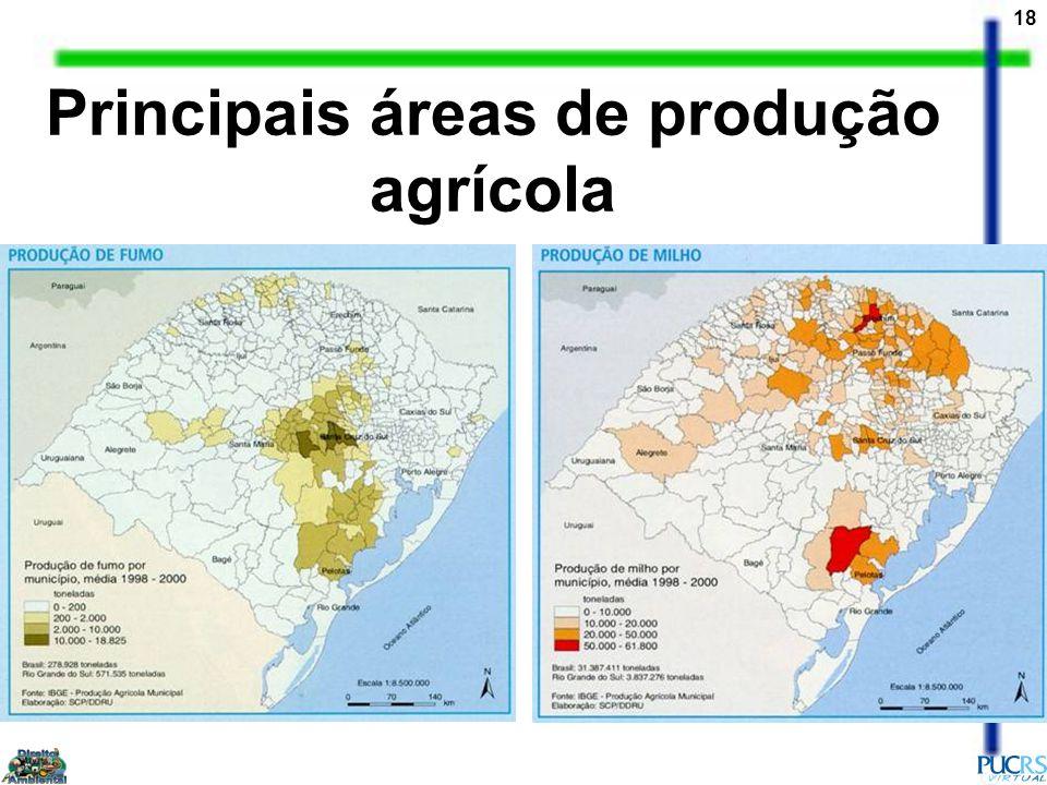 Principais áreas de produção agrícola