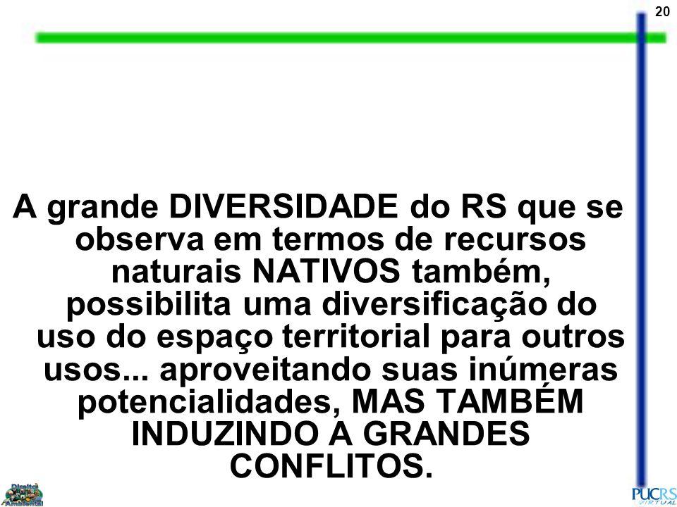 A grande DIVERSIDADE do RS que se observa em termos de recursos naturais NATIVOS também, possibilita uma diversificação do uso do espaço territorial para outros usos...