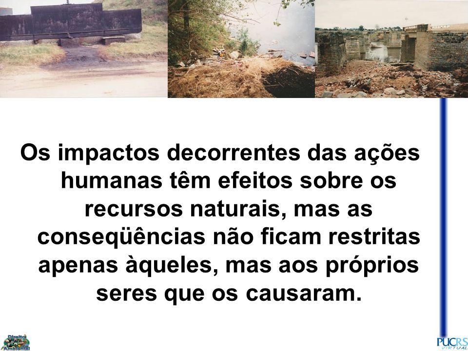 Os impactos decorrentes das ações humanas têm efeitos sobre os recursos naturais, mas as conseqüências não ficam restritas apenas àqueles, mas aos próprios seres que os causaram.