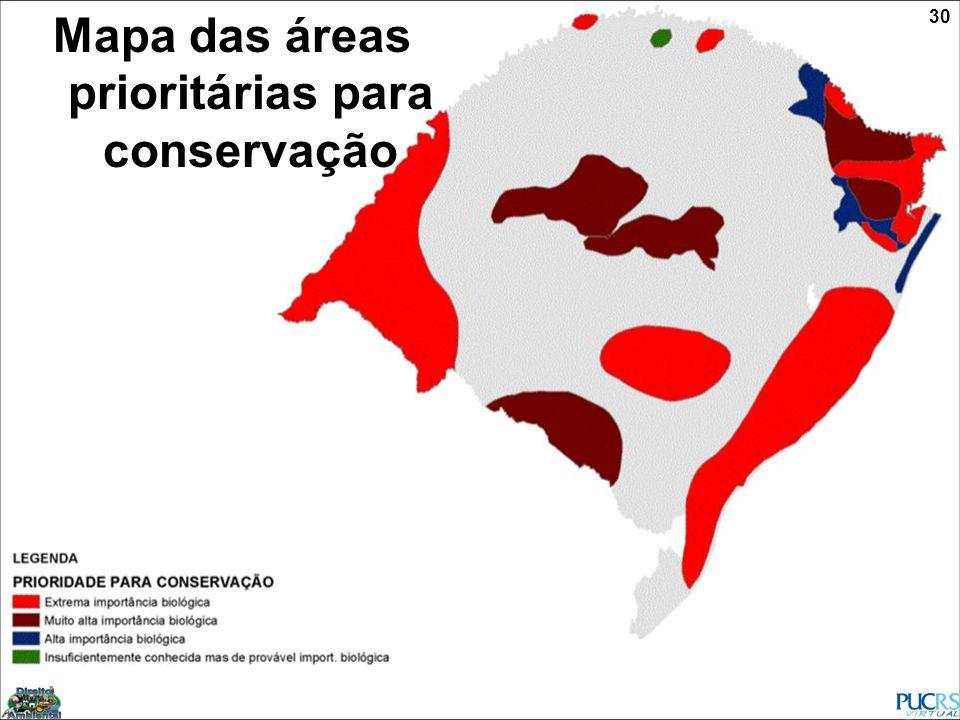 Mapa das áreas prioritárias para conservação