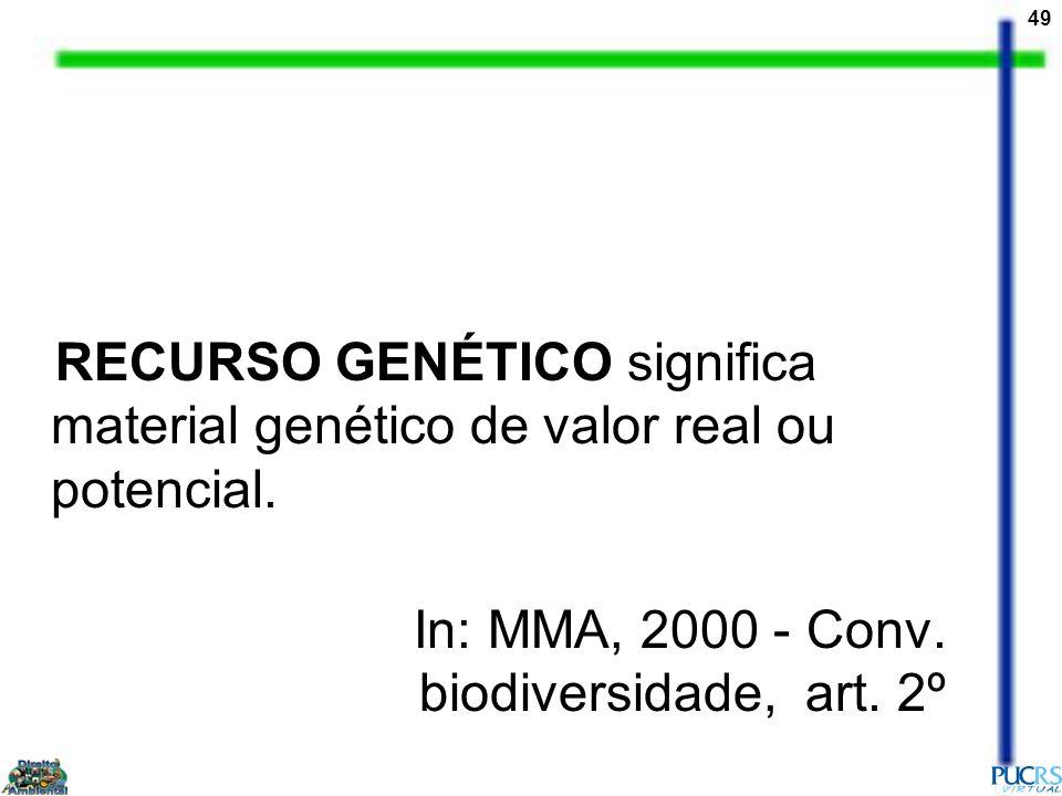 RECURSO GENÉTICO significa material genético de valor real ou potencial.