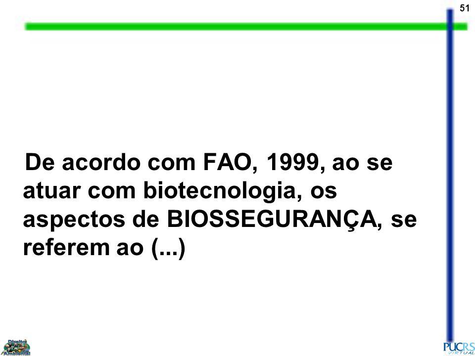 De acordo com FAO, 1999, ao se atuar com biotecnologia, os aspectos de BIOSSEGURANÇA, se referem ao (...)