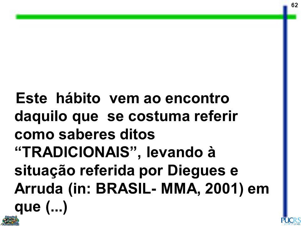 Este hábito vem ao encontro daquilo que se costuma referir como saberes ditos TRADICIONAIS , levando à situação referida por Diegues e Arruda (in: BRASIL- MMA, 2001) em que (...)
