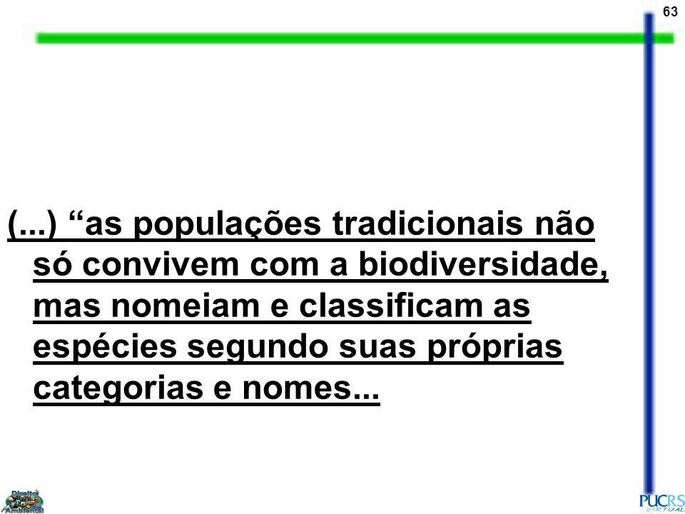 (...) as populações tradicionais não só convivem com a biodiversidade, mas nomeiam e classificam as espécies segundo suas próprias categorias e nomes...