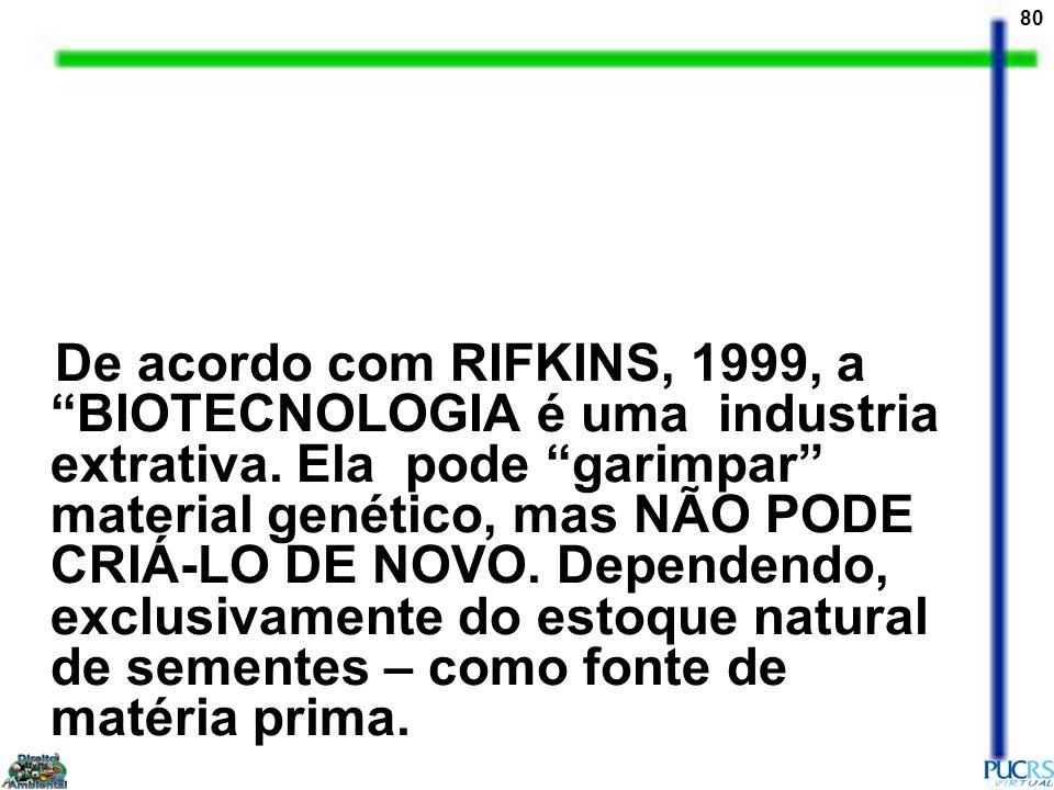 De acordo com RIFKINS, 1999, a BIOTECNOLOGIA é uma industria extrativa.