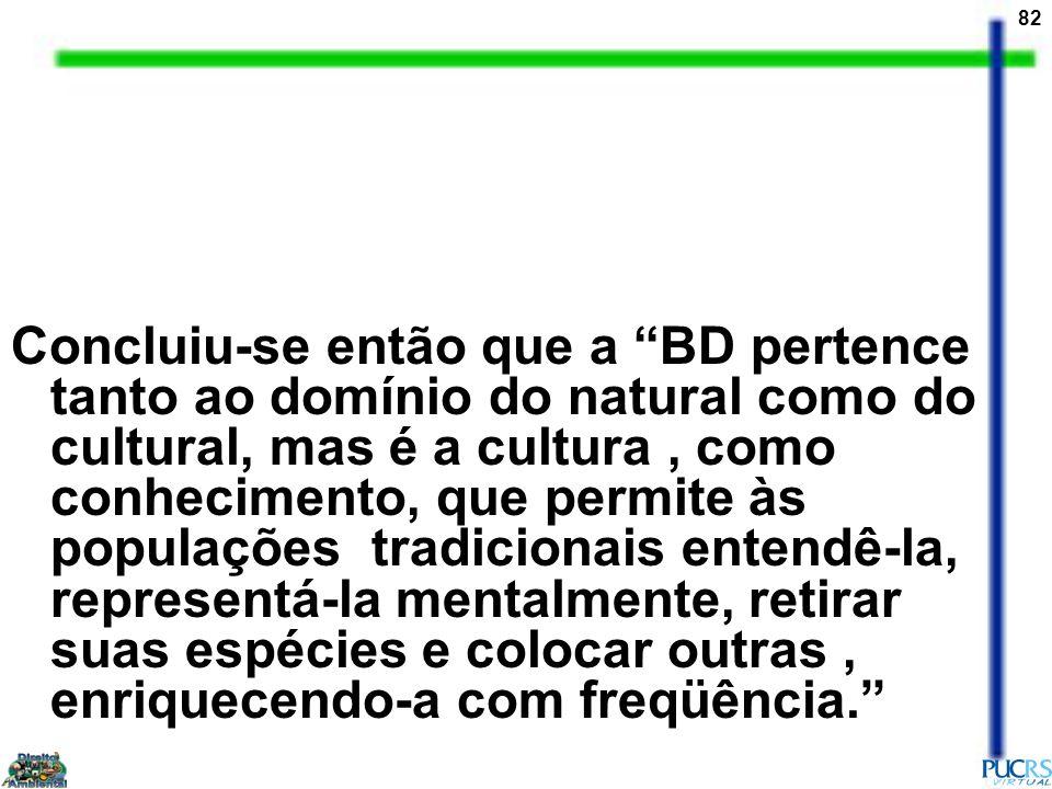 Concluiu-se então que a BD pertence tanto ao domínio do natural como do cultural, mas é a cultura , como conhecimento, que permite às populações tradicionais entendê-la, representá-la mentalmente, retirar suas espécies e colocar outras , enriquecendo-a com freqüência.
