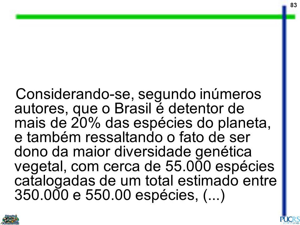 Considerando-se, segundo inúmeros autores, que o Brasil é detentor de mais de 20% das espécies do planeta, e também ressaltando o fato de ser dono da maior diversidade genética vegetal, com cerca de 55.000 espécies catalogadas de um total estimado entre 350.000 e 550.00 espécies, (...)