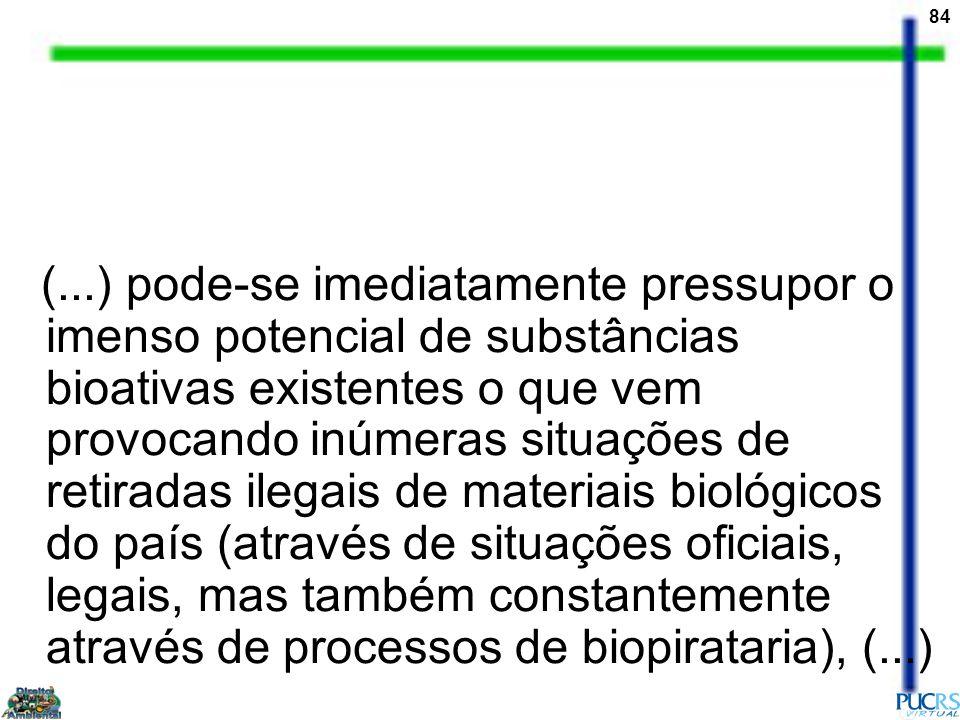(...) pode-se imediatamente pressupor o imenso potencial de substâncias bioativas existentes o que vem provocando inúmeras situações de retiradas ilegais de materiais biológicos do país (através de situações oficiais, legais, mas também constantemente através de processos de biopirataria), (...)