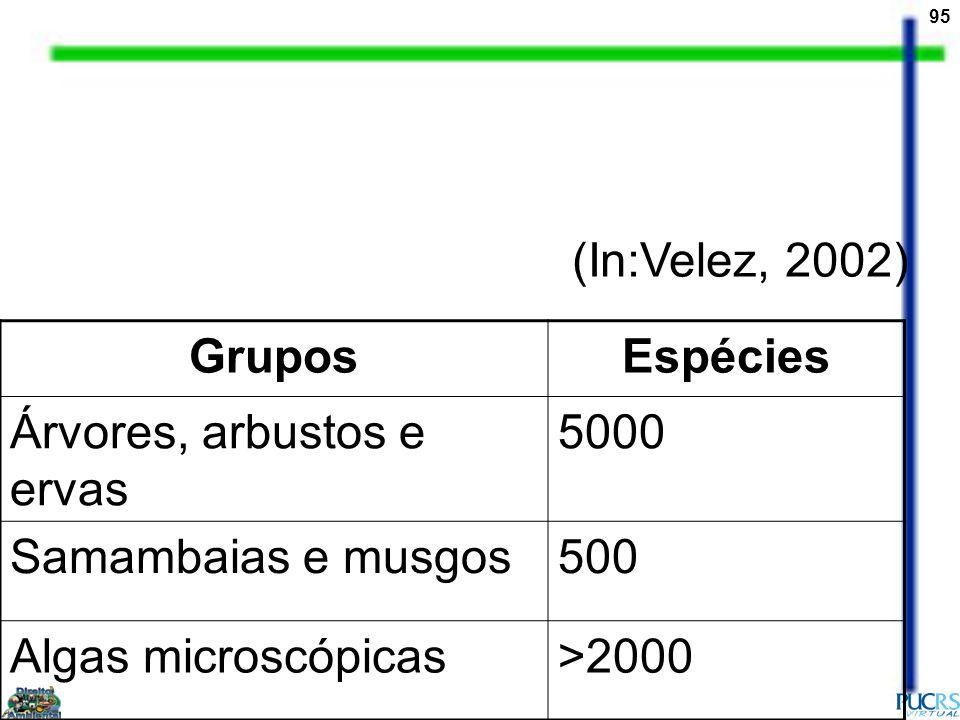 (In:Velez, 2002) Grupos. Espécies. Árvores, arbustos e ervas. 5000. Samambaias e musgos. 500. Algas microscópicas.