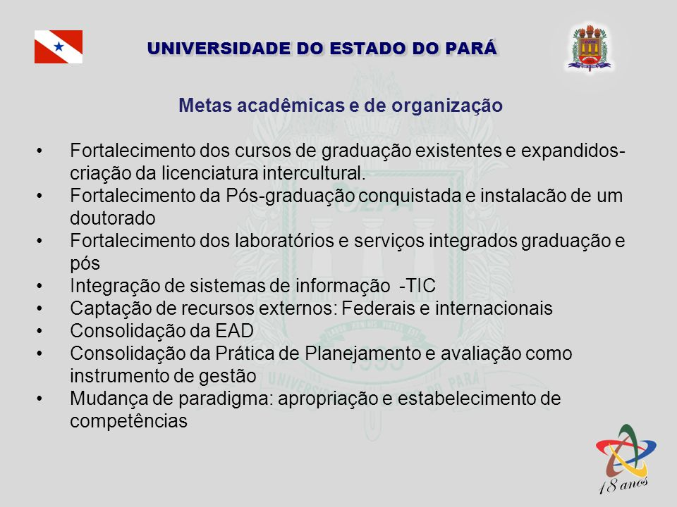 Metas acadêmicas e de organização