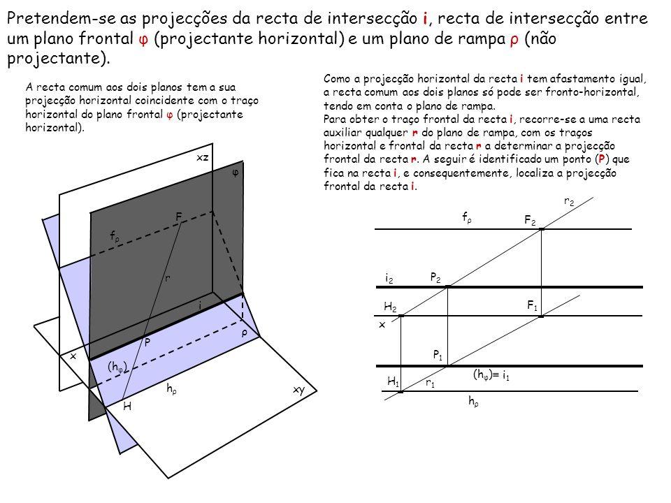 Pretendem-se as projecções da recta de intersecção i, recta de intersecção entre um plano frontal φ (projectante horizontal) e um plano de rampa ρ (não projectante).