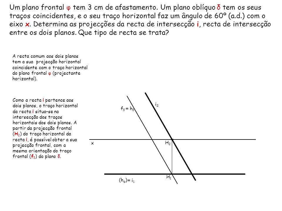 Um plano frontal φ tem 3 cm de afastamento