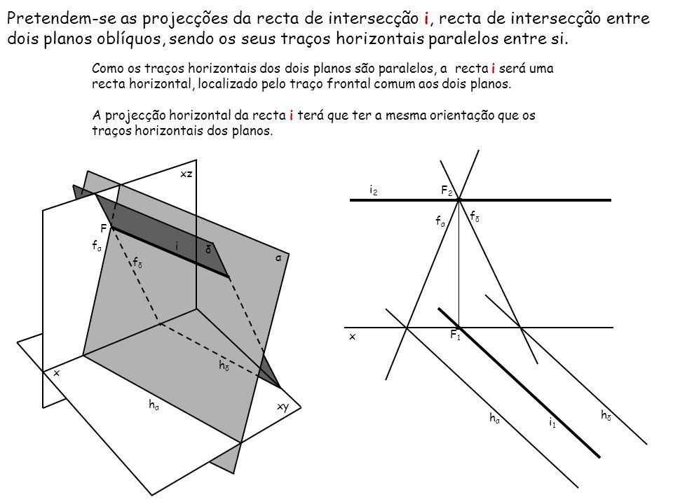Pretendem-se as projecções da recta de intersecção i, recta de intersecção entre dois planos oblíquos, sendo os seus traços horizontais paralelos entre si.