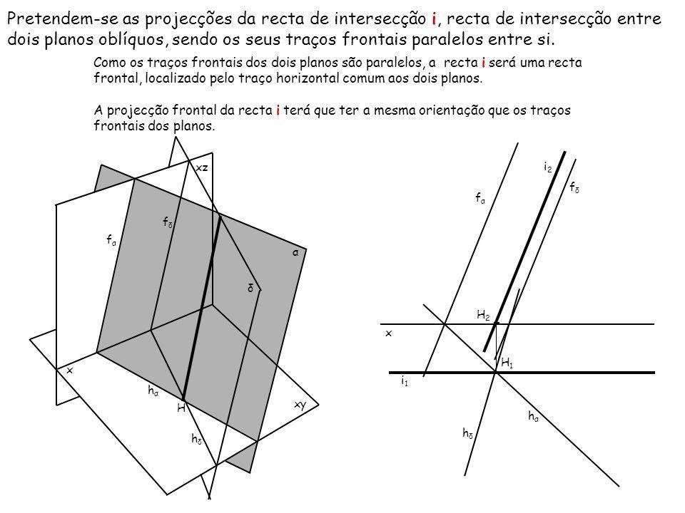 Pretendem-se as projecções da recta de intersecção i, recta de intersecção entre dois planos oblíquos, sendo os seus traços frontais paralelos entre si.
