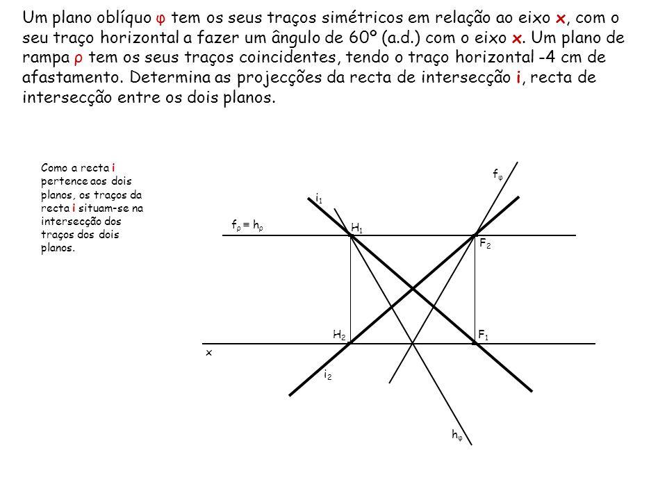 Um plano oblíquo φ tem os seus traços simétricos em relação ao eixo x, com o seu traço horizontal a fazer um ângulo de 60º (a.d.) com o eixo x. Um plano de rampa ρ tem os seus traços coincidentes, tendo o traço horizontal -4 cm de afastamento. Determina as projecções da recta de intersecção i, recta de intersecção entre os dois planos.