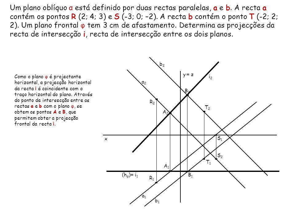 Um plano oblíquo α está definido por duas rectas paralelas, a e b