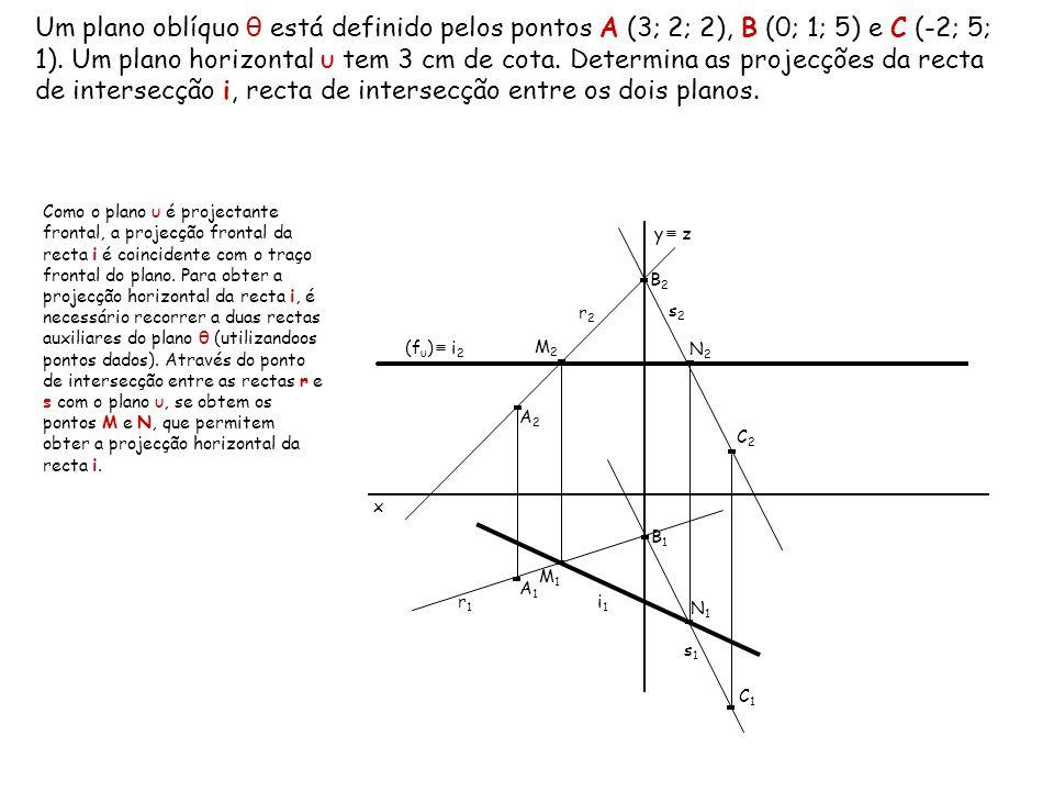 Um plano oblíquo θ está definido pelos pontos A (3; 2; 2), B (0; 1; 5) e C (-2; 5; 1). Um plano horizontal υ tem 3 cm de cota. Determina as projecções da recta de intersecção i, recta de intersecção entre os dois planos.