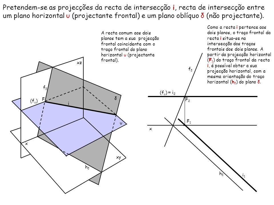 Pretendem-se as projecções da recta de intersecção i, recta de intersecção entre um plano horizontal υ (projectante frontal) e um plano oblíquo δ (não projectante).