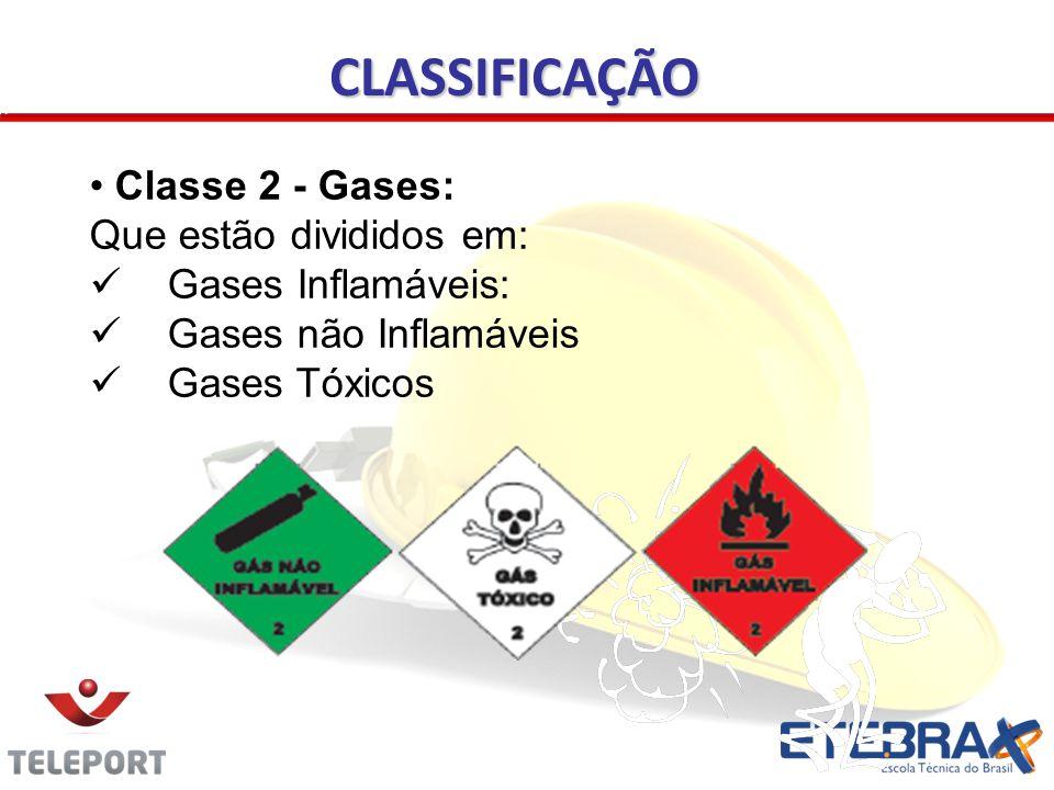 CLASSIFICAÇÃO Classe 2 - Gases: Que estão divididos em: