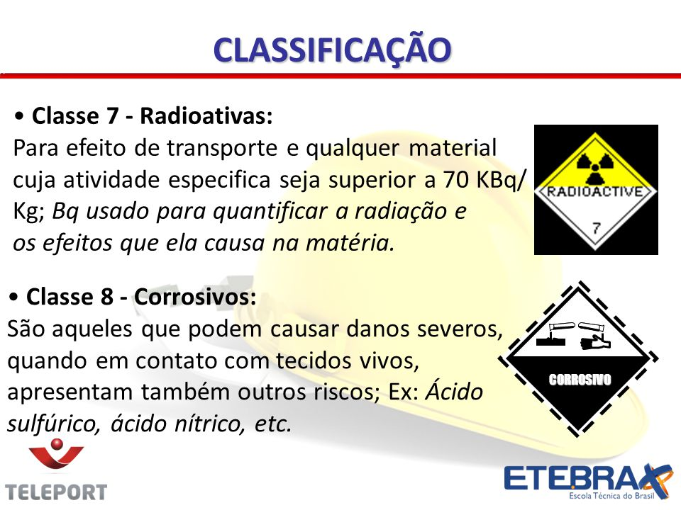 CLASSIFICAÇÃO Classe 7 - Radioativas: