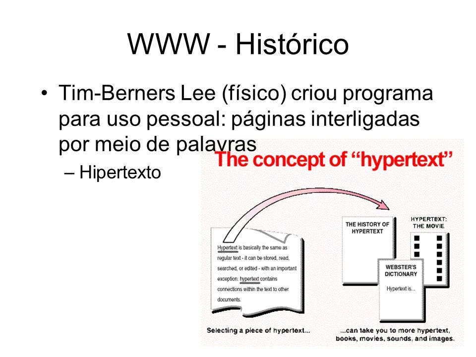 WWW - Histórico Tim-Berners Lee (físico) criou programa para uso pessoal: páginas interligadas por meio de palavras.