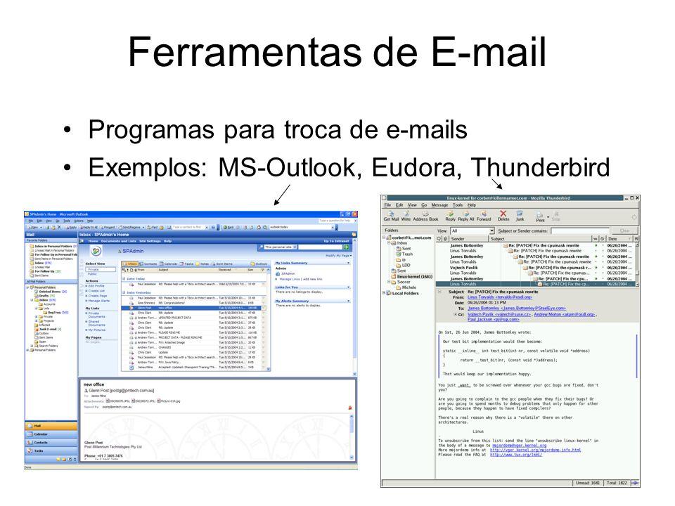 Ferramentas de E-mail Programas para troca de e-mails