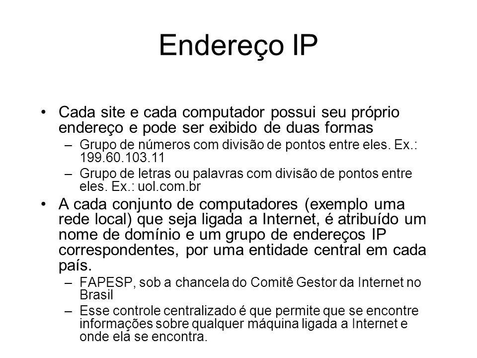 Endereço IP Cada site e cada computador possui seu próprio endereço e pode ser exibido de duas formas.