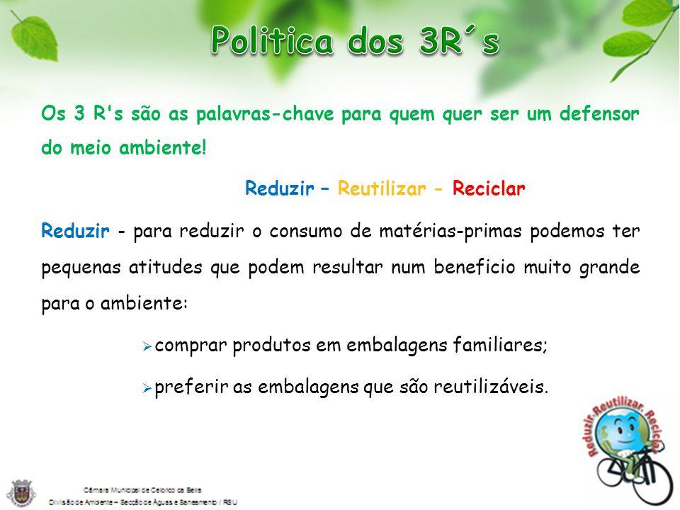 Politica dos 3R´s Os 3 R s são as palavras-chave para quem quer ser um defensor do meio ambiente! Reduzir – Reutilizar - Reciclar.