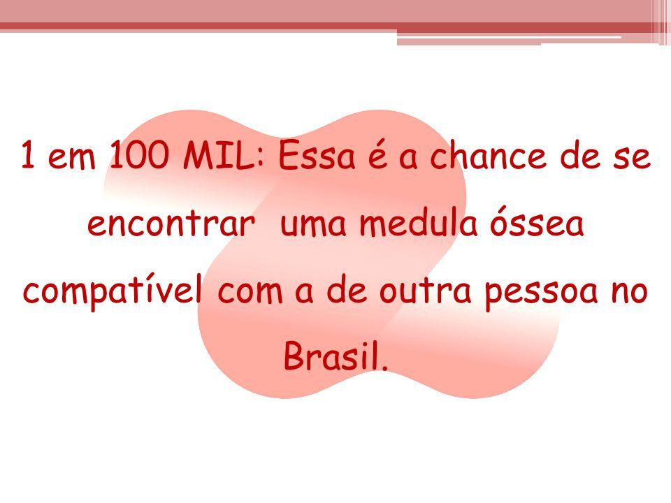 1 em 100 MIL: Essa é a chance de se encontrar uma medula óssea compatível com a de outra pessoa no Brasil.