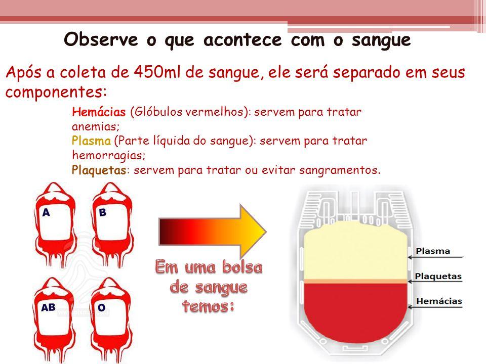 Observe o que acontece com o sangue Em uma bolsa de sangue temos: